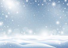 Winterhintergrund des fallenden Schnee Weihnachtskartendesigns Stock Abbildung