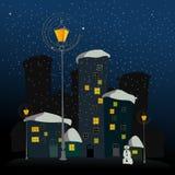 Winterhintergrund mit dargestellter Stadt Stockfoto