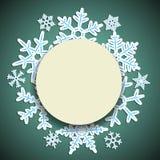 Winterhintergrund mit rundem Papierrahmen und Schatten für das neue Jahr und das Weihnachten entwerfen Stockbilder