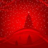 Winterhintergrund mit Weihnachtsbäumen Stockbilder