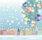 Winterhintergrund, Weihnachtsstadt Lizenzfreie Stockfotos