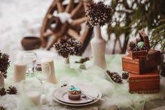 Winterhochzeitstafel stockfotografie