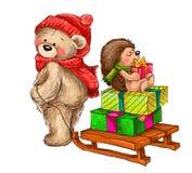Winterillustration des Bären trägt den Schlitten mit Igelem Stockfotografie