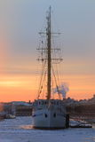 Wintering sailship. Cityscape royalty free stock photography