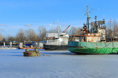 Wintering of ships Stock Photo