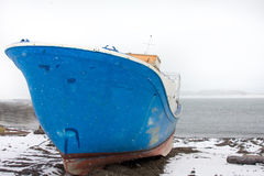 Wintering small japanese ship Stock Photos