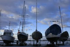 Yachts in winter Royalty Free Stock Photos