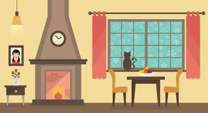 Winterinnenraum eines Wohnzimmers Stockfotos