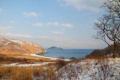 Winterküste. Stockfoto
