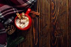 Winterkaffeegetränk, Kakao mit Schlagsahne und Eibische in einer roten keramischen Schale Stellung auf einem Holztisch, nahe bei  lizenzfreie stockfotografie