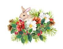 Winterkaninchen, Blumen, Kiefer, Mistelzweig Weihnachtsaquarell für Grußkarte mit nettem Tier stock abbildung