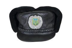 Winterkappe des ukrainischen Polizeibeamten Lizenzfreies Stockbild