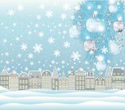 Winterkarte der frohen Weihnachten Stockbilder