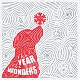 Winterkarte Die Beschriftung - neues Jahr-neue Wunder Neues Jahr des Hunde-/Weihnachtsdesigns vektor abbildung
