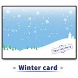 Winterkarte mit Bäumen und Schneemännern Lizenzfreie Stockfotos