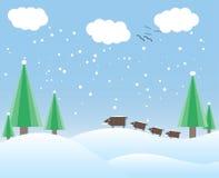 Winterkarte mit Bäumen und wilden Ebern Lizenzfreies Stockfoto