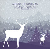 Winterkartenfeiertags-Rotwildhintergrund der frohen Weihnachten Stockfotografie