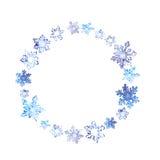 Winterkranz mit Schneeflocken Rundes Feld des Aquarells Vektor Abbildung