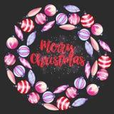 Winterkranz von Aquarell Weihnachtsdekorationen, Hand gezeichnet auf einen dunklen Hintergrund lizenzfreie abbildung