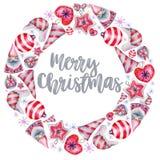 Winterkranz von Aquarell Weihnachtsdekorationen, Hand gezeichnet auf einen weißen Hintergrund stock abbildung