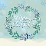 Winterkranzillustration der frohen Weihnachten Stockbild