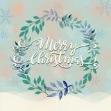 Winterkranzillustration der frohen Weihnachten Stockfotos