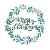 Winterkranzillustration der frohen Weihnachten Lizenzfreie Stockfotografie