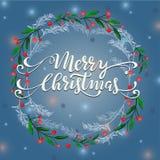 Winterkranzillustration der frohen Weihnachten Lizenzfreies Stockbild