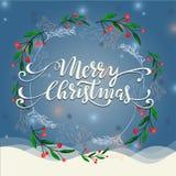Winterkranzillustration der frohen Weihnachten Stockbilder