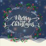 Winterkranzillustration der frohen Weihnachten Lizenzfreies Stockfoto