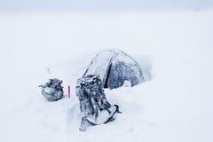 Winterlager in den Karpatenbergen Stockbild