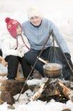 Winterlagerfeuer Lizenzfreies Stockbild