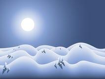 Winterland con la luna e la neve Immagini Stock