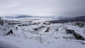 Winterland i Harghita County Rumänien arkivbilder