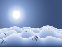 Winterland with moon and snow Stock Images