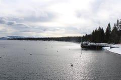 Winterlandscape at quite lake stock photo
