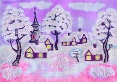 Winterlandschaft auf dem Rosa, malend Lizenzfreies Stockbild