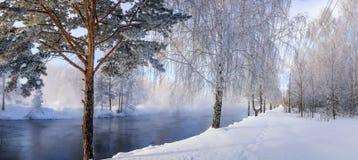 Winterlandschaft auf einem Fluss mit Wald im Frost, Russland, Ural Lizenzfreie Stockfotos