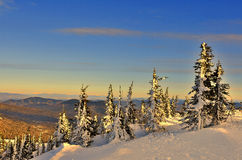 Winterlandschaft in den Bergen bei Sonnenuntergang stockfotografie
