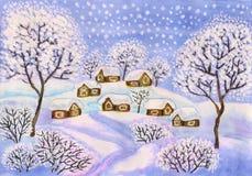 Winterlandschaft in den blauen Farben, malend Lizenzfreie Stockbilder