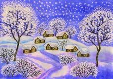 Winterlandschaft in den blauen Farben, malend Lizenzfreies Stockbild