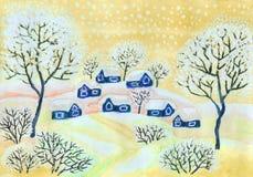 Winterlandschaft in den gelben Farben, malend Lizenzfreie Stockfotos