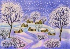 Winterlandschaft in den purpurroten Farben, malend Lizenzfreie Stockfotos