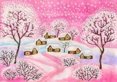 Winterlandschaft in den rosa Farben, malend Lizenzfreie Stockbilder