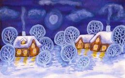 Winterlandschaft in den violetten Farben, malend Stockfotografie