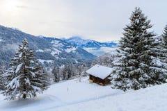 Winterlandschaft in der Schweiz Stockfotos