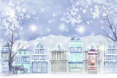Winterlandschaft der Stadt umfasst mit Schnee - grafische Malereibeschaffenheit Stockbilder