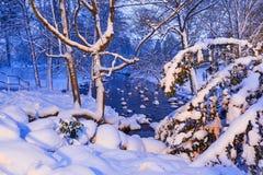 Winterlandschaft des schneebedeckten Parks in Gdansk Lizenzfreies Stockbild