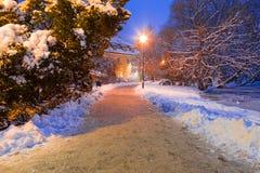 Winterlandschaft des schneebedeckten Parks in Gdansk Lizenzfreie Stockbilder