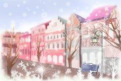 Winterlandschaft des schneebedeckten Stadtzentrums - grafische Beschaffenheit von Malereitechniken Stockbilder